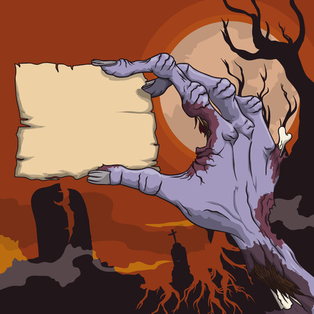 ghostly: Horror scene with zombie hand in a ghostly graveyard holding a little stamp