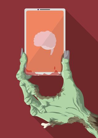 terrifying: Funny zombie hand holding a smartphone searching fashion brains in Its new app Illustration