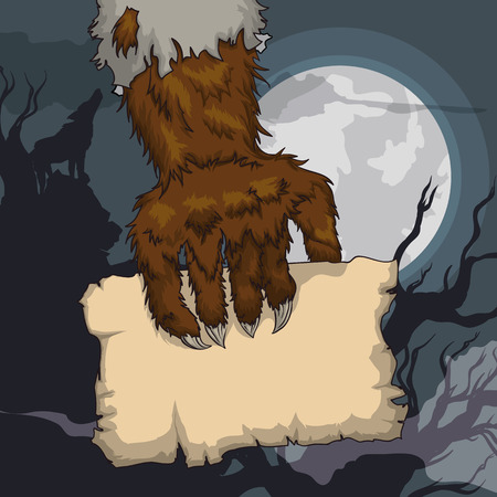 hairy arms: Howling werewolf holding a paper in a spooky old horror Night with full moon night