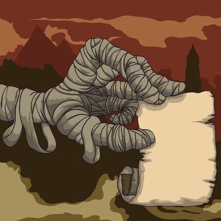 Spooky Horror-Szene mit der Hand eine verfluchte Mumie alte Papierhalte