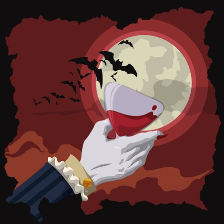 hand grip: Vampire toast with a crimson red drink in a night scene with full moon, clouds and bats Illustration
