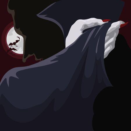 Classy at full moon night vampire holding his cloak