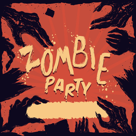 terrifying: Many zombie hands in Halloween party on red background poster