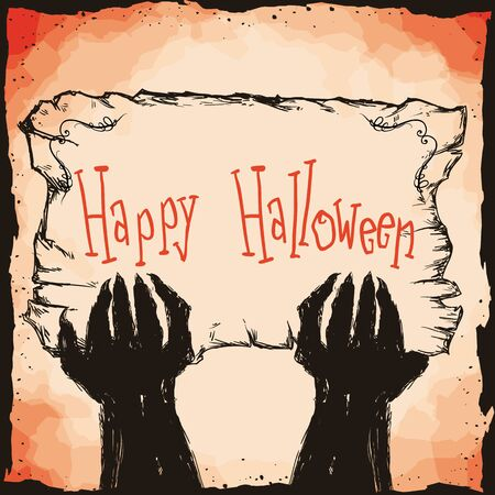 terrify: Monster hands with happy Halloween in retro hand drawn sign