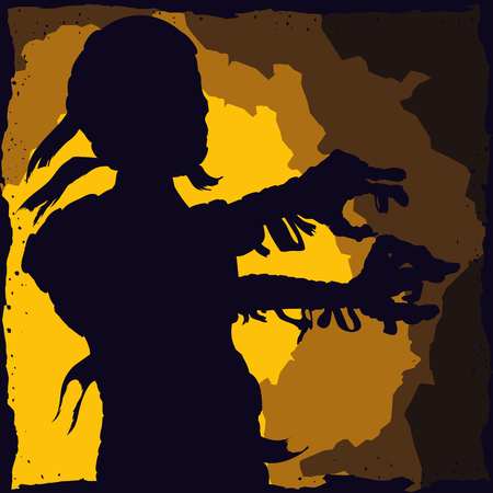 scare: Walking mummy silhouette ready to scare in town! Illustration