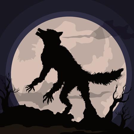 Hombre lobo aullando a la luna llena en una escena de la noche en un fondo de terror espeluznante Ilustración de vector