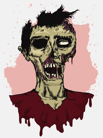 rotting: Zombie rotting all over in hand drawn style on beige and white background