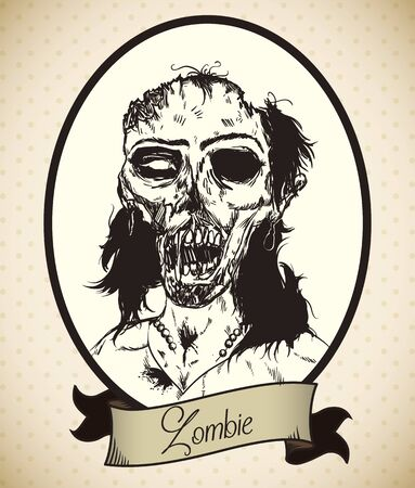 female portrait: Classic zombie young female portrait in hand drawn style