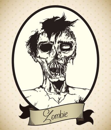 gore: Portrait young male zombie in hand drawn style