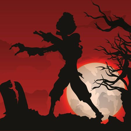 nigth: Horror scene with rotten zombie rising from grave on network ITS nigth With Full moon