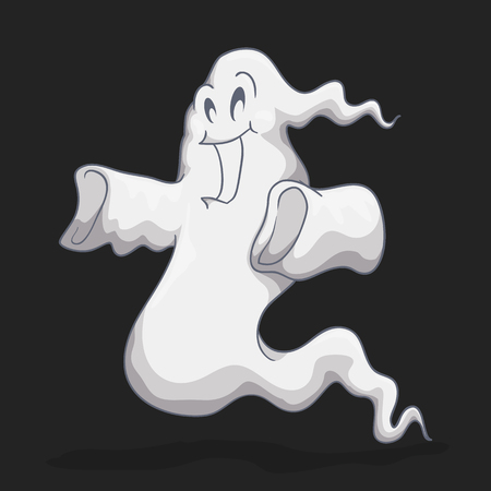ghastly: Happy white ghost isolated on black background