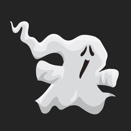 Cute little ghost isolated on black background