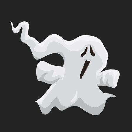phantom: Cute little ghost isolated on black background