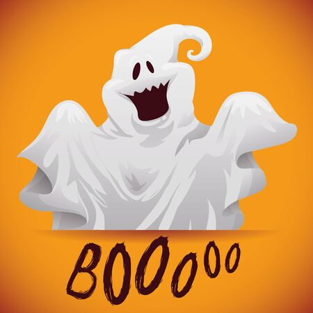 boo: Happy ghost poster with long sleeves on orange background Illustration