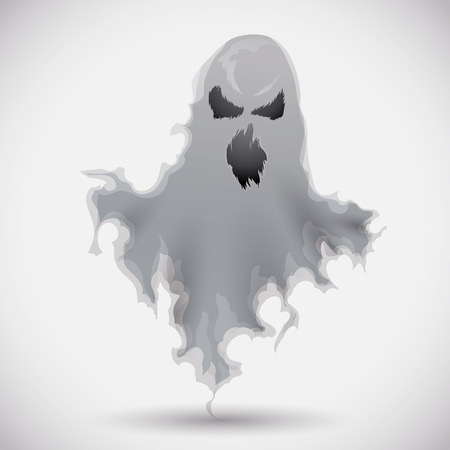frightening: Furious ghost frightening the viewer isolated