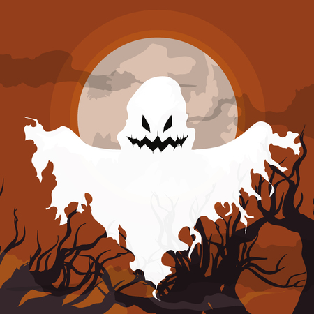 ghastly: Flying horror ghost in a spooky forest scene on Illustration