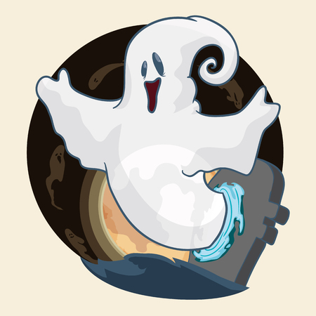 Happy ghost coming out of a doorway to reunite friends STI over the moon