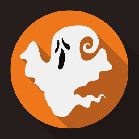 cute ghost: Small ghost floating in a orange icon round button Illustration