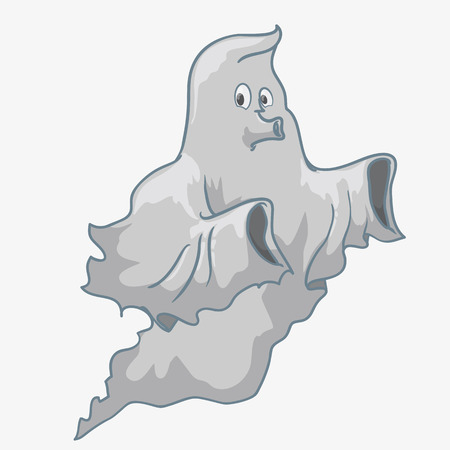 ghastly: Whistling ghost flying isolated on white background Illustration