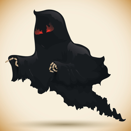 terrifying: Angry dark vengeful ghost flying Illustration