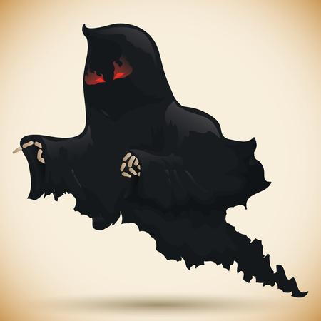 Angry dark vengeful ghost flying Illustration