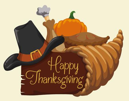 Thanksgiving dag met hoorn des overvloeds en heerlijke elementen van het diner.