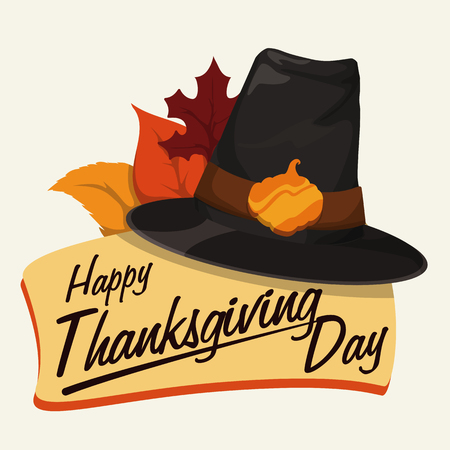 pilgrim hat: Thanksgiving sign with classic pilgrim hat, golden pumpkin buckle and some leaves. Illustration