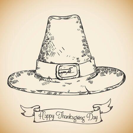 pilgrim hat: Realistic hand drawn happy Thanksgiving pilgrim hat with ribbon Illustration