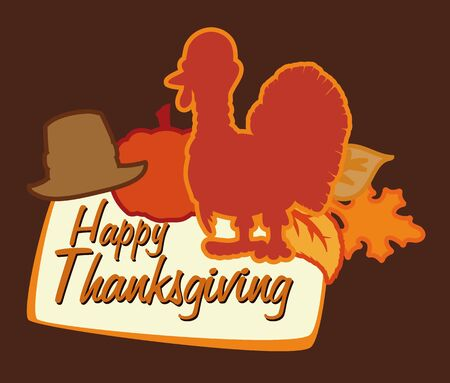 festive occasions: With Thanksgiving turkey poster, hat, pumpkin and leaves silhouettes