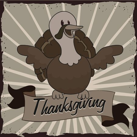 festive occasions: Black and white turkey on thanksgiving happy retro styled poster Illustration