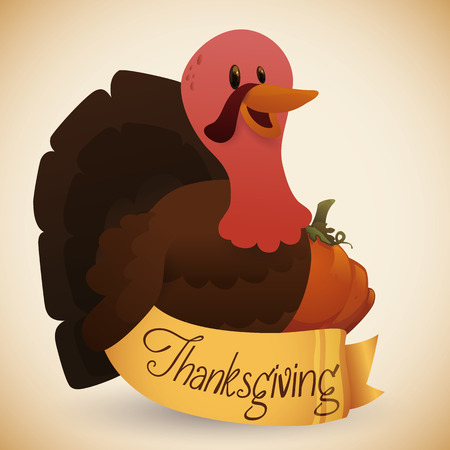 thanksgiving day symbol: Cute turkey with pumpkin and golden ribbon thanksgiving Vettoriali