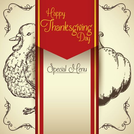 inline: Realistic thanksgiving menu fine drawn in-line for your guests With turkey and pumpkin Illustration