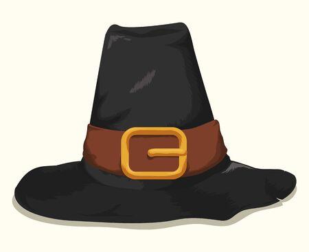 sombrero aislado del peregrino con el cinturón de cuero negro y hebilla de oro aislado