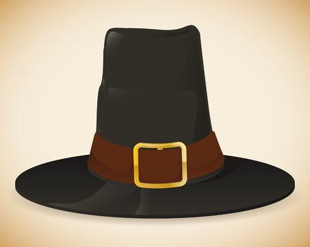 pilgrim hat: Colorful pilgrim hat isolated on beige background