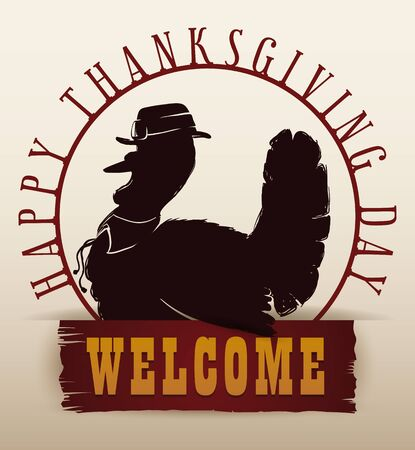 pilgrim: Traditional Thanksgiving turkey pilgrim invitation Illustration