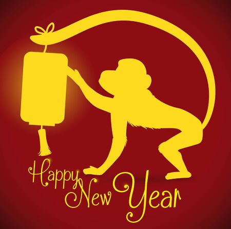 lighted: Monkey touching lighted lantern in Its tail silhouette with New Year message
