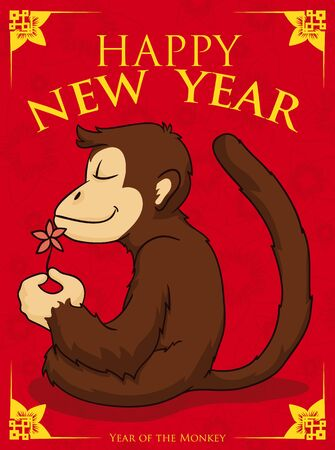 serene: Serene monkey smelling a cherry flower in Chinese New Year poster