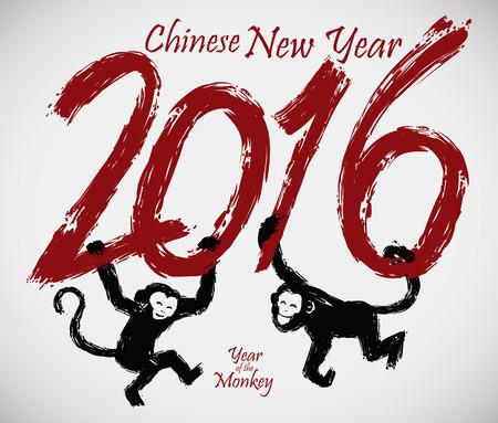 brushstroke: Monkeys swinging in 2016 brushstroke style number in celebrating Chinese New Year