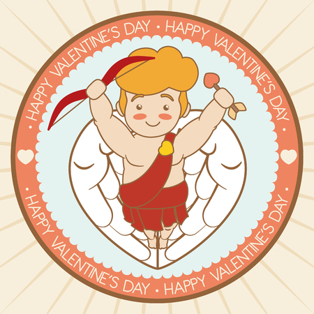 angel flying: Cute little Cupid flying with arrow and bow in cartoon style