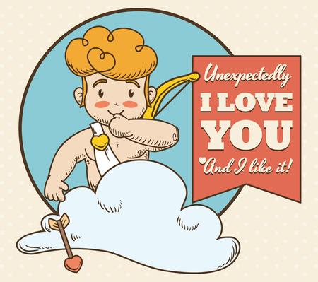 make my day: Cute mischievous smiling Cupid ready to make matches in Valentines Day