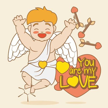 expressed: Smiling Cupid With the love Expressed in Valentines Day
