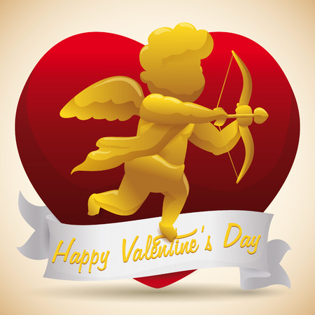 shiny heart: Golden sculpture of Cupid on greeting shiny heart with white ribbon for Valentines Day Illustration