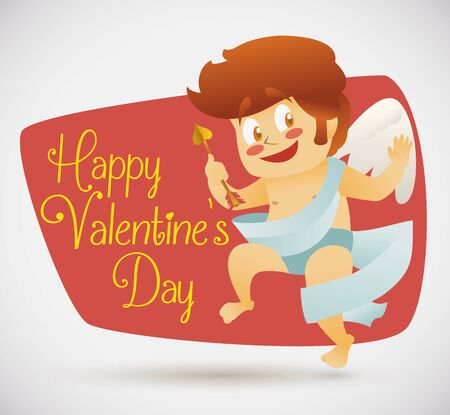angel flying: Cupid in retro style cartoon with arrow and long cloth for Valentines Day