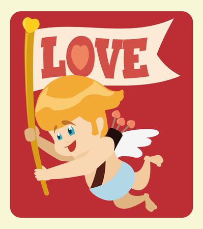 baby angel: Felice volare Cupido portando una bandiera con amore nel messaggio San Valentino