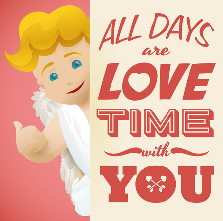 beloved: Cupid blonde with thumbs up and a cute love message for your beloved Illustration