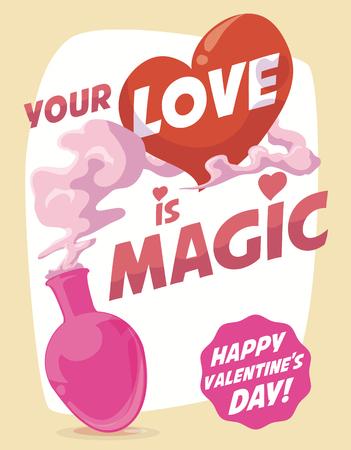 pócima: poción mágica dulce amor para el día de San Valentín. Vectores