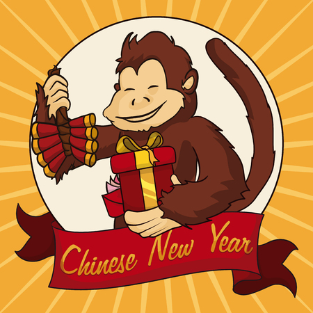 cartoon envelope: Monkey smiling with gifts and firecrackers for Chinese New Year celebration