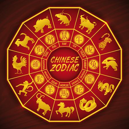 wooden horse: Traditional Chinese calendar with all zodiac animals silhouettes Illustration