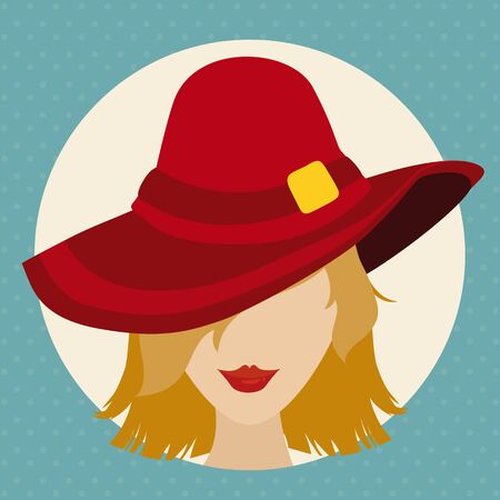 red haired woman: Sexy blond haired woman with red lips and hat in flat style.
