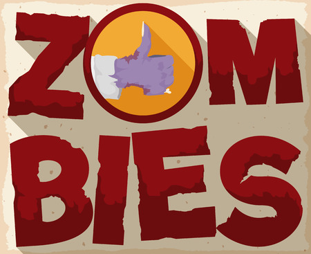 terrifying: Dusted zombie poster in cartoon style with giant letters and zombie hand with thumb up and long shadow effect.